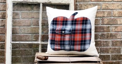 Upcycled Flannel Pumpkin Pillow with Fairfield World by Creatively Beth #creativelybeth #polyfil #upcycledflannel #pumpkin #embroidery #fall #pillow