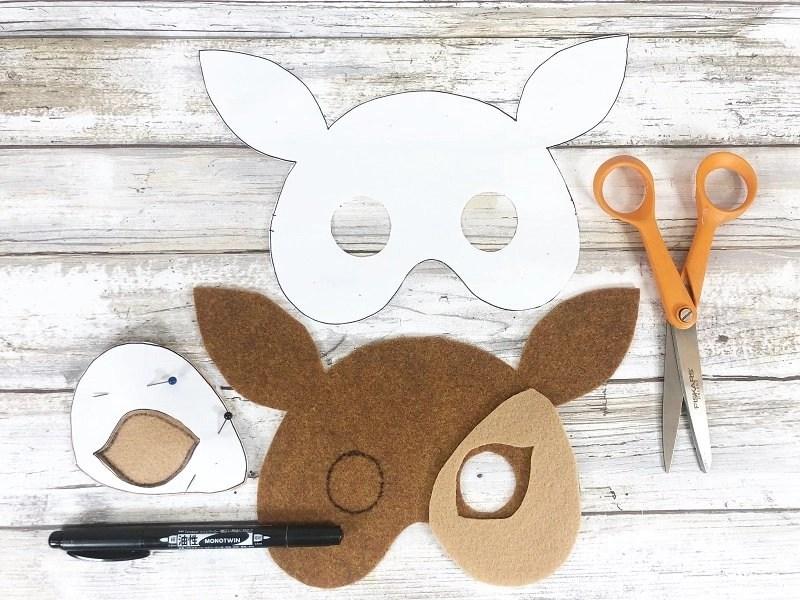 Woodland Deer Felt Mask a No-Sew DIY by Creatively Beth #creativelybeth #createwithkunin #feltcrafts #feltmasks #deermask #kidscrafts