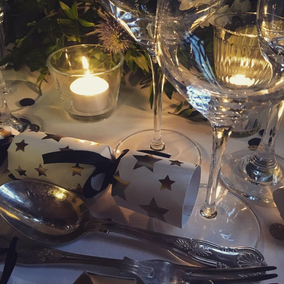 party table setting with candle light