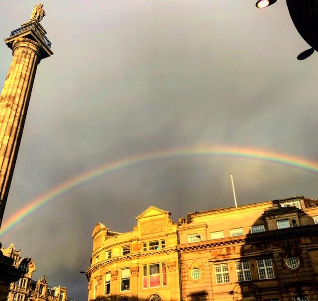 rainbow over monument