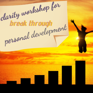 title of workshop- clarity for break through personal development with a women jumping from the highest pole in the sunset
