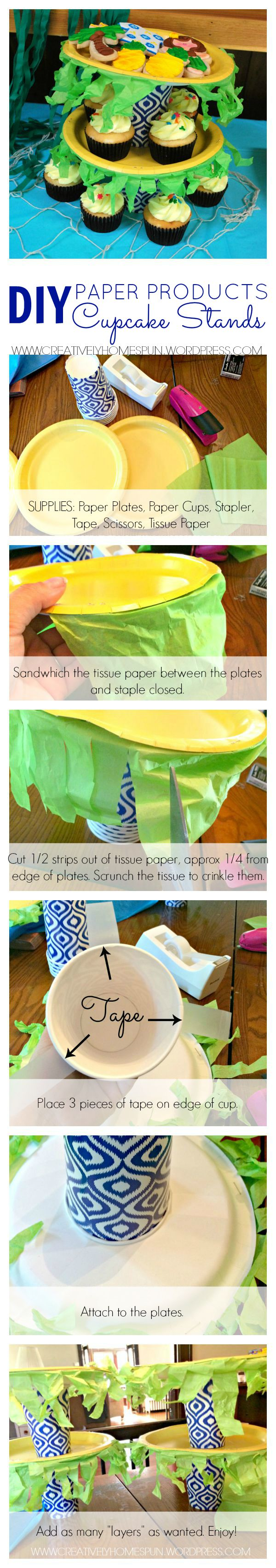 DIY Paper Products Cupcake Stands! These are super easy, and cost saving!! #partyplanning #cupcakes #DIY