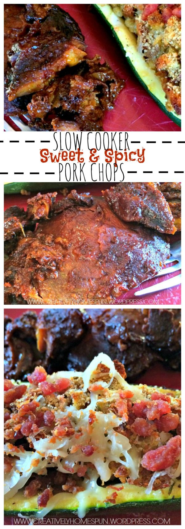 Savory Slow Cooker Sweet & Spicy Pork Chops! #slowcookermeals #easydinner #porkchops