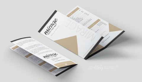 mirage salon and spa-trifold brochure design-creatively seeded