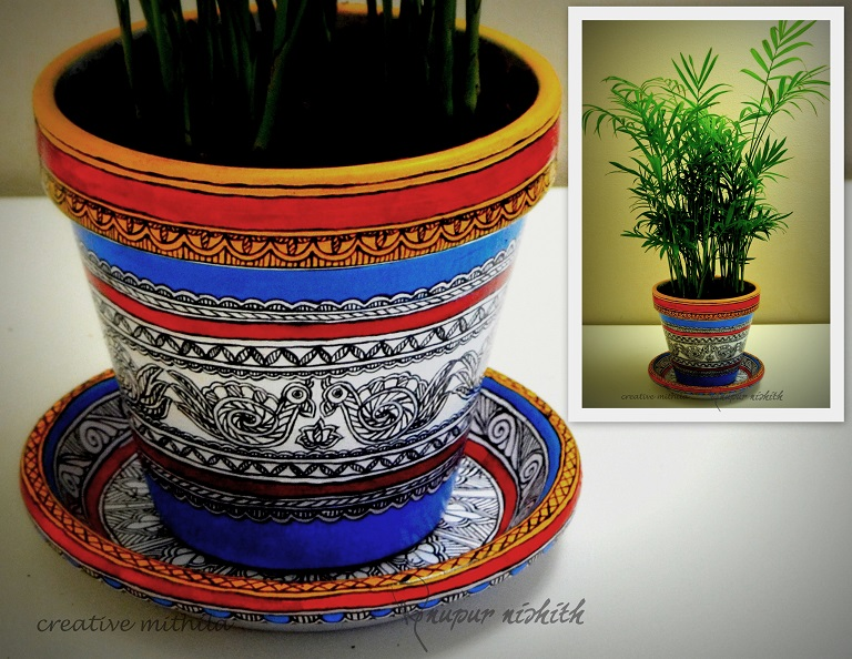 Plant pot with saucer painted in Mithila / Madhubani Painting (blue)