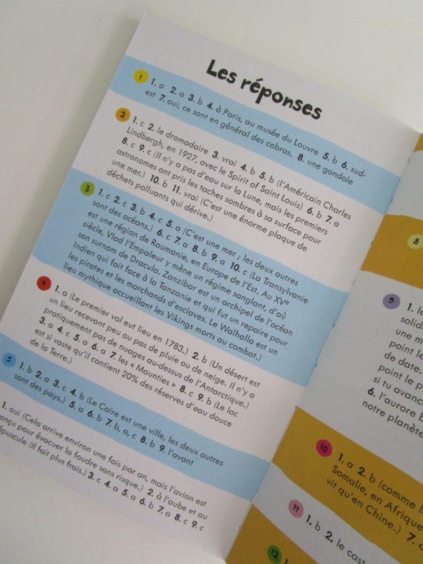 les réponses aux questions livres d'activités sur les vacances Usborne
