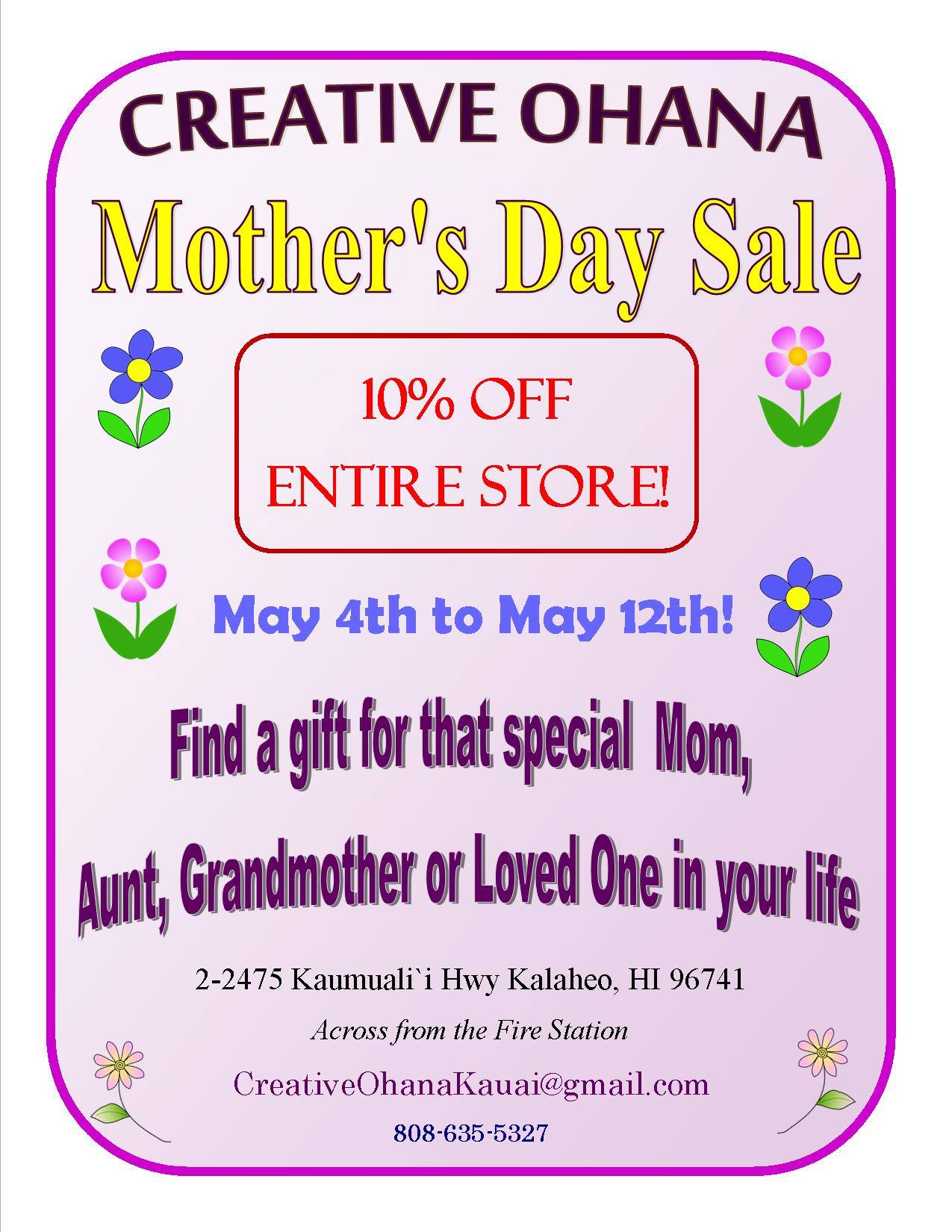 Mother's Day Sale - Creative Ohana Kauai
