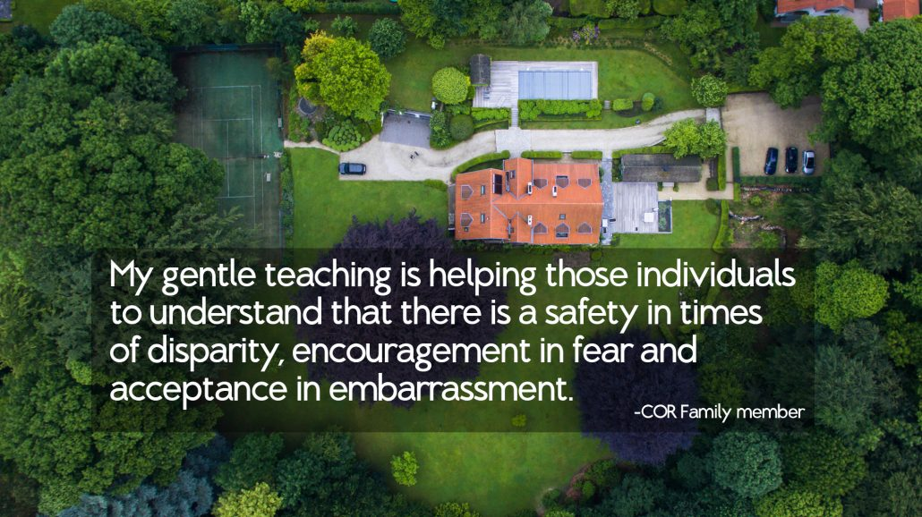 My gentle teaching is helping those individuals to understand that there is a safety in times of disparity, encouragement in fear and acceptance in embarrassment