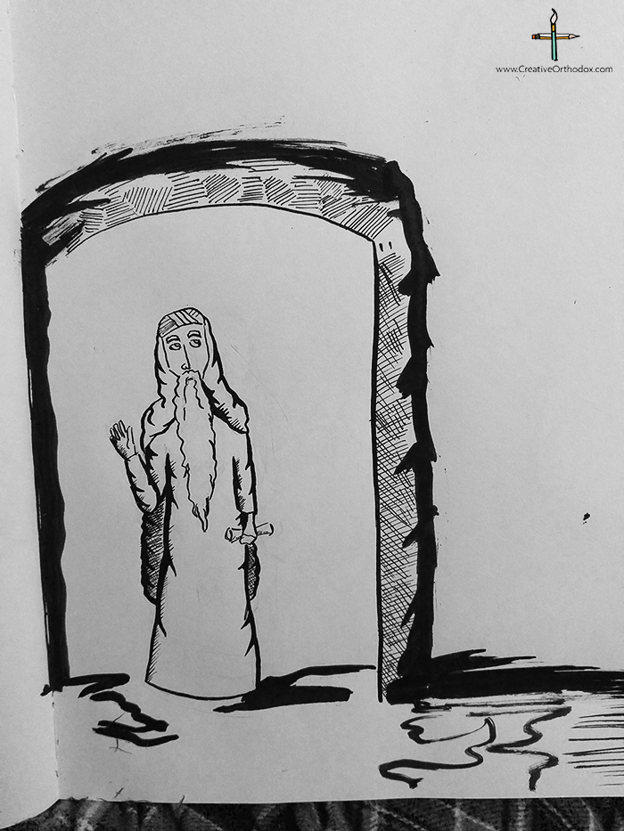 Ink drawing of Saint Isaac the Syrian