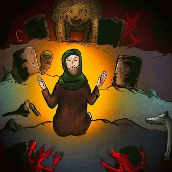 Saint Antony the great & the demons illustration