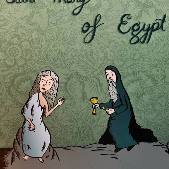 An illustration of Saint Mary of Egypt given communion by the monk Zosimas