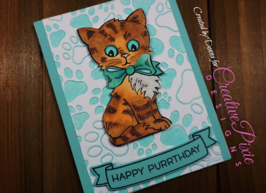 Kittie birthday handmade card