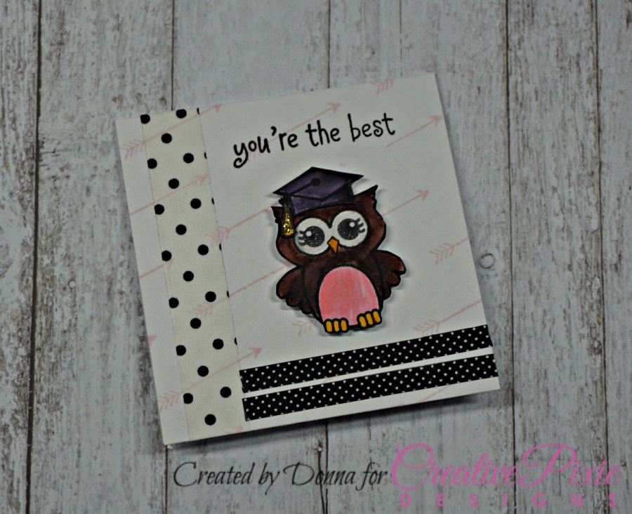 Maymay made it Owlton and Owlivia graduation handmade cards colored with Zig clean color markers.