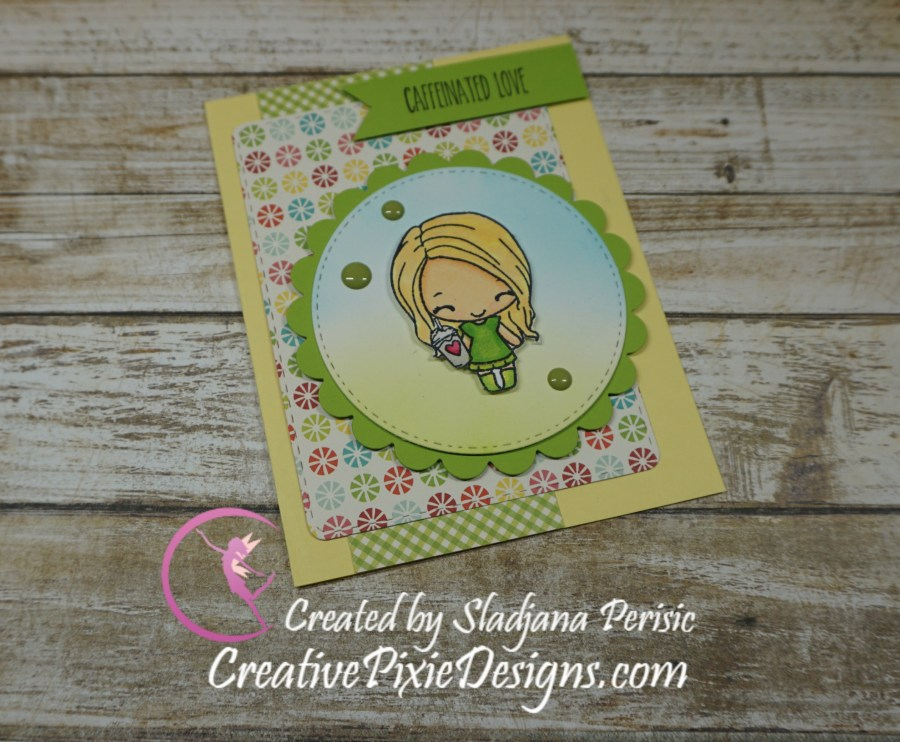 Greeting Farm Mini Remix Brewtiful Clear Stamp colored using Spectrum Noir Markers handmade card.