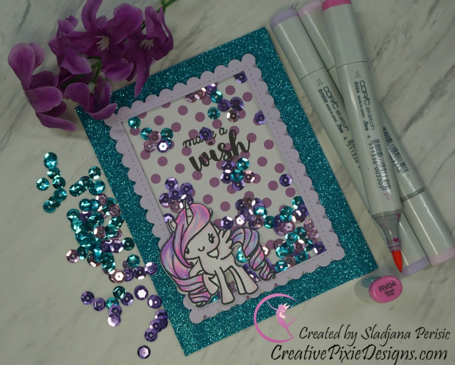 The Greeting Farm A Lil' Magic Unicorn stamp set colored with Copic Markers handmade shaker birthday card.