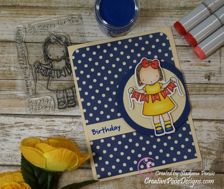 My Favorite Things Pure Innocence Happy Banner colored with Copic Markers in combination with patterned paper handmade birthday card.
