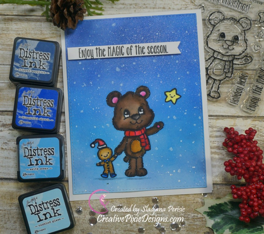 Your Next Stamp Huggles Christmas Star colored with Zig Clean Color Real Brush Markers and Distress ink background handmade Christmas card.