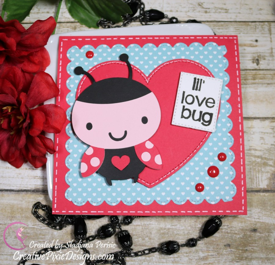 Cricut Create a Critter Ladybug Valentine's Day handmade card.