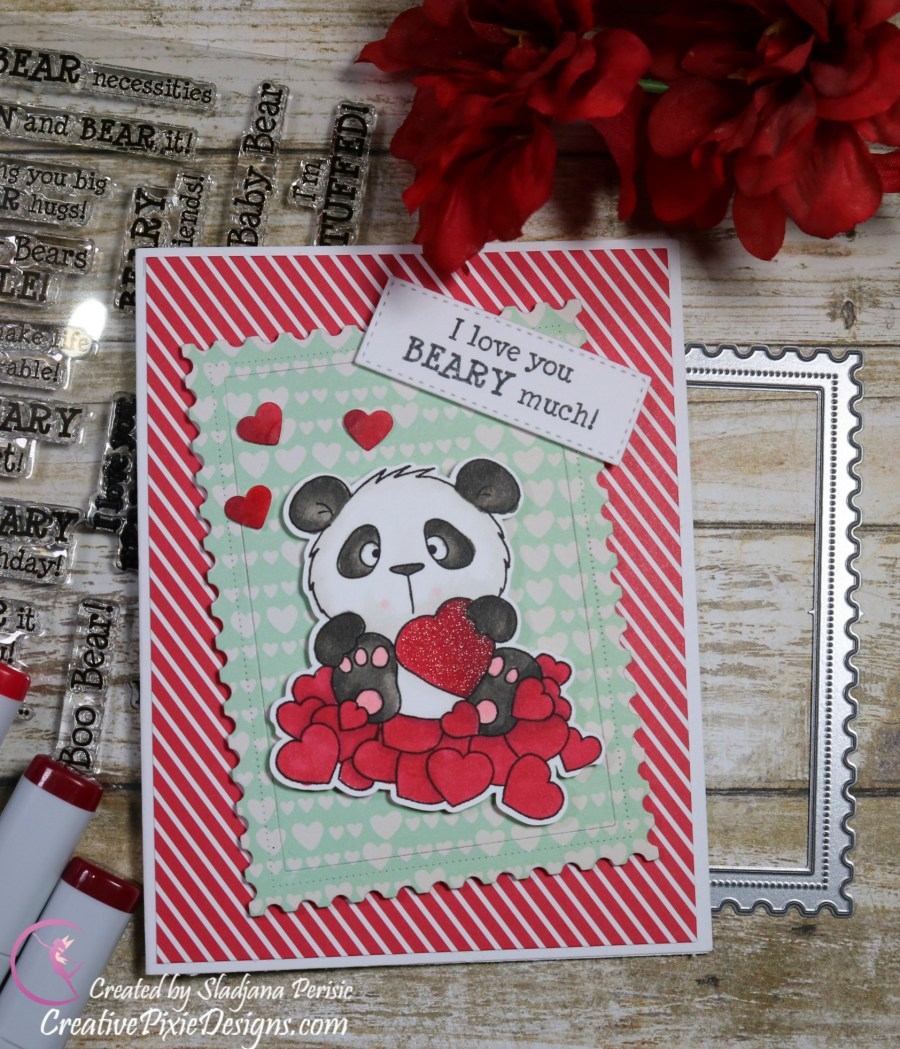 Gerda Steiner Designs Panda in Love digital stamp colored with Copic Markers and patterned paper background Valentine's Day handmade card.