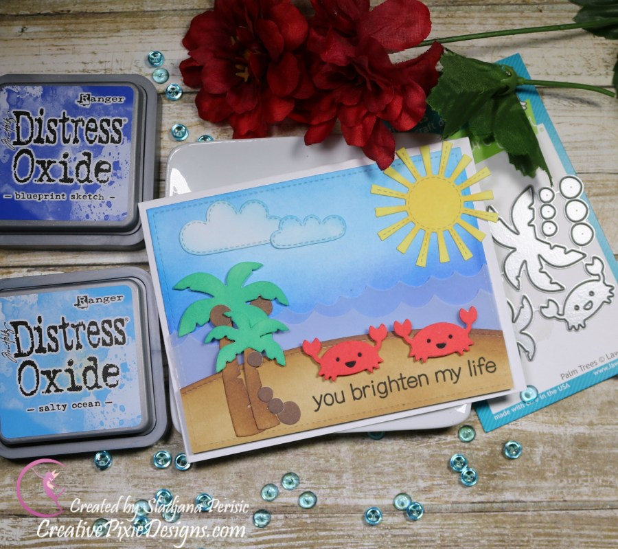 Lawn Fawn Palm Trees, Spring Showers, Hillside Borders and Ocean Wave Borders dies colored with Distress Oxide ink scene handmade card.