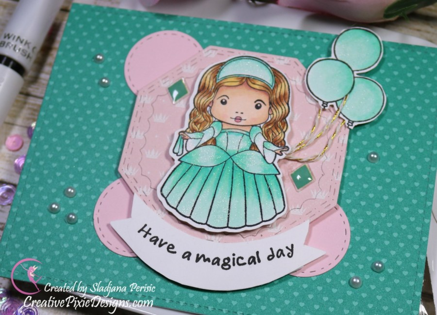 La La Land Princess Marci exclusively for SFL colored with Copic Markers and patterned paper background handmade birthday card.