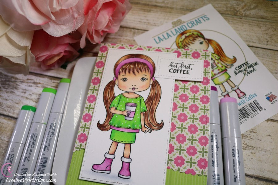 LaLa-Land Crafts Mollie with Coffee stamp set colored with Copic Markers and patterned paper backgrounds handmade card.