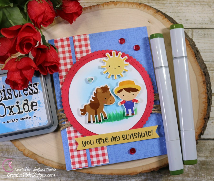 Scrapping For Less May FOTM Card Kit In the Country Side featuring Down on the Farm by Doodlebug papers and ephemera.