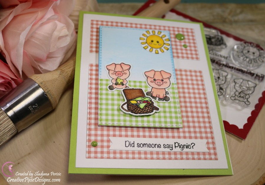 Scrapping For Less May FOTM Card Kit In the Country Side featuring Scrapping For Less Piggy Picnic stamp set and Tiny Checks by MFT paper pad.