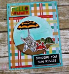 Scrapping For less June FOTM Card Kit At the Beach featuring LDRS Just Beachy stamp and You are my Sunshine Patterned Paper by LDRS, Copic colored, sending kisses handmade card.