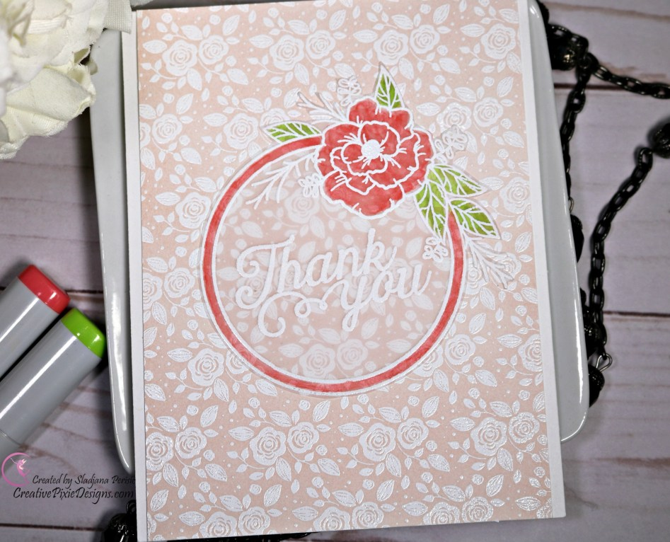 Stamp August 2018 Card Kit called Mandy's Flowers featuring ink blended Modern Rose Blooms background card.