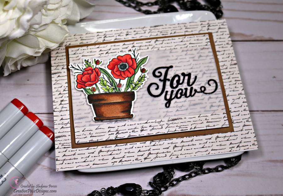 Simon Says Stamp August 2018 Card Kit called Mandy's Flowers featuring layered patterned paper with floral image.