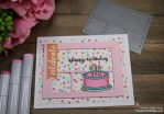 Scrapping For Less July 2018 FOTM Card Kit Birthday Wishes featuring Sunny Studio Make a Wish stamp and Happy Birthday Girl patterned paper by Echo Park.