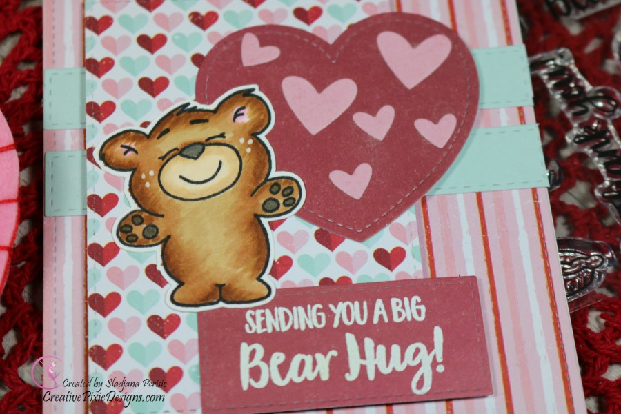 Gerda Steiner Designs More Than Pie colored with Copic Markers and patterned paper layered sketch Valentine's Day card.