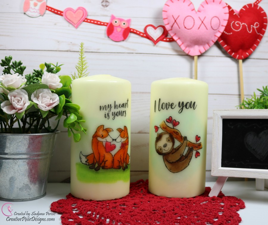 Simon Says Stamp Special Edition Valentine's 2019 Kit featuring the adorable sloth and fox family, colored with Copic markers and heat set on a candle.