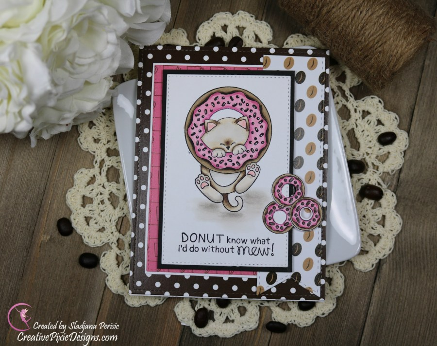 Scrapping For Less January 2019 FOTM Card Kit Perk Up and Start the New Year featuring from collection two: Newton's Donut stamp by Newton's Nook Designs and Love, Coffee and Donuts patterned paper by Scrapping For Less.