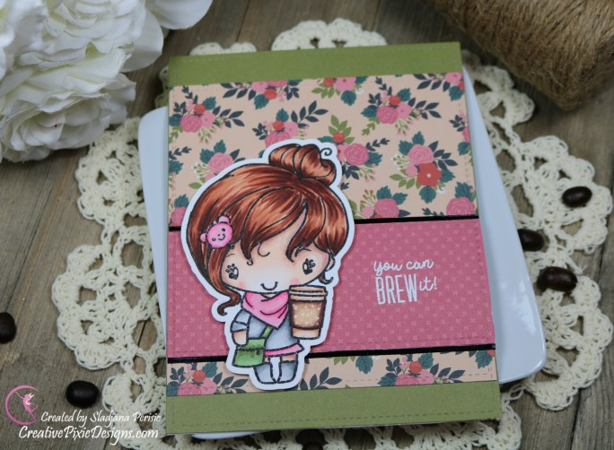 Scrapping For Less January 2019 FOTM Card Kit Perk Up and Start the New Year featuring from collection four: Brew it Anya stamp by The Greeting Farm and Coffee Collection patterned paper by Echo Park.