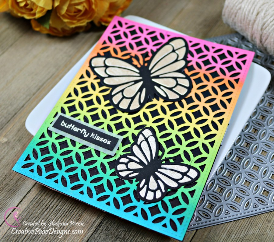 Lawn Fawn Fancy Lattice Backdrop and Lawn Fawn Layered Butterflies Die combined to create Rainbow cards with Distress and Distress Oxide inked backgrounds.