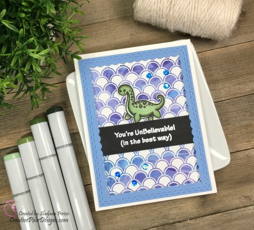 Loch Ness Monster by Kindred Stamps Copic colored and combined with paper by Scrapping For Less.