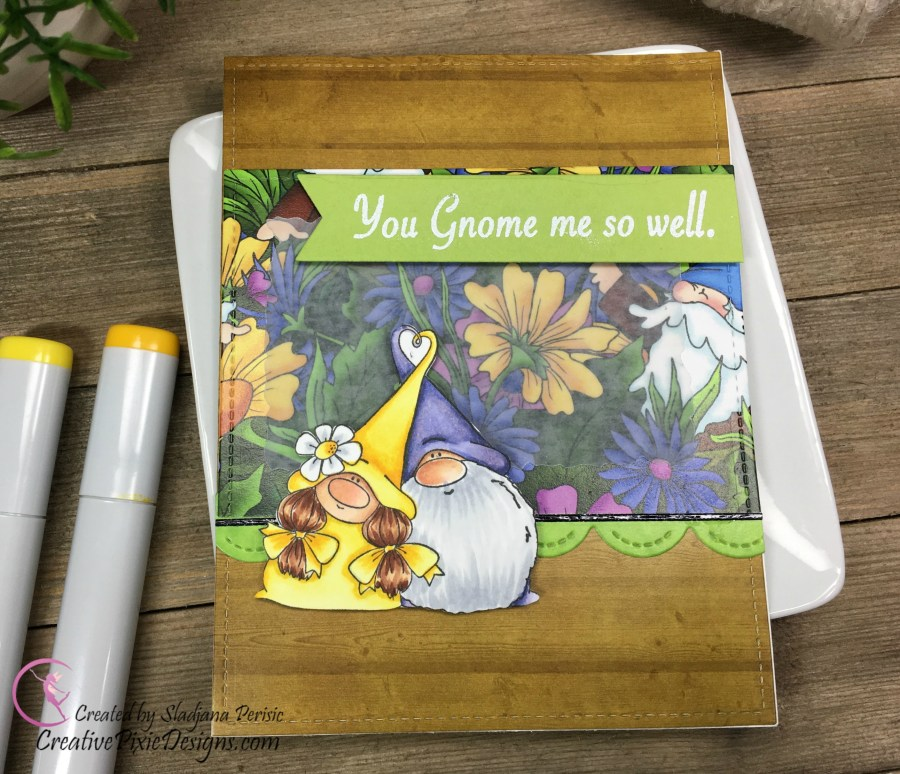 Gnome by Stamping Bella Copic colored and combined with Gnomie Home paper by Scrapping For Less.