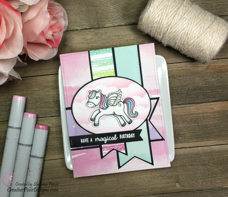Prancing Pegasus Stamp by Sunny Studio Stamps Copic colored and combined with Pretty Little Rainbow papers by Scrapping For Less.