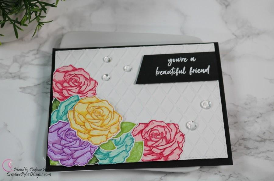 Hero Arts Color Layering Rose Stamp combined with a Sunny Studio Dapper Diamonds Embossing Folder handmade card.