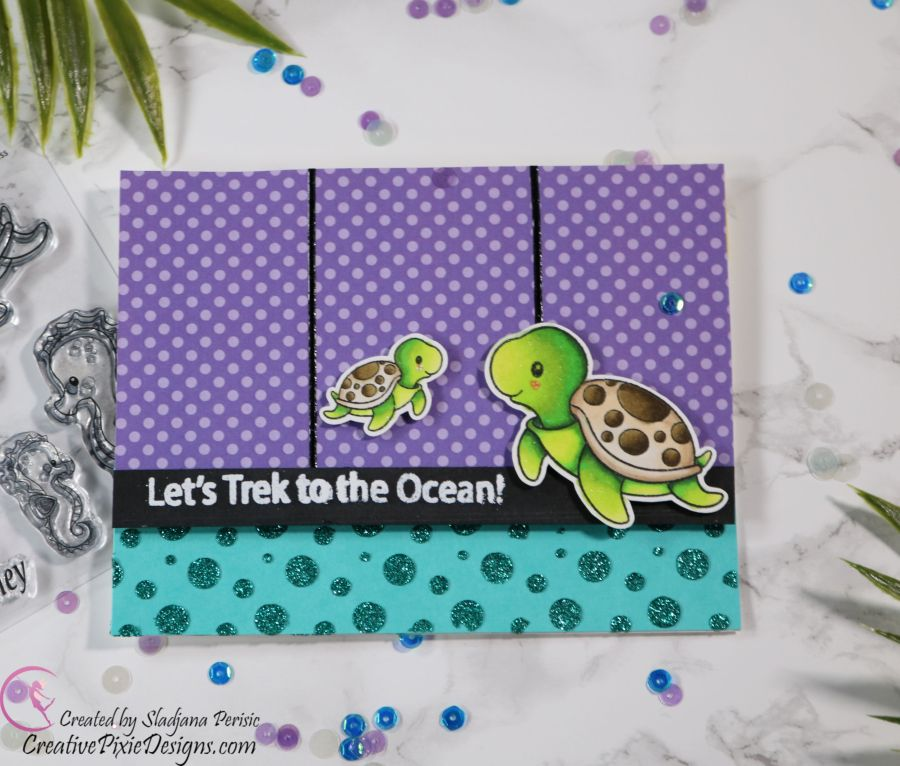 Scrapping For Less June 2019 Flavor of the Month Card Kit Under the Sea Babies. Collection four: Sea Buddies Stamp by Scrapping for Less combined with Sea Buddies patterned paper by Scrapping For Less handmade card.