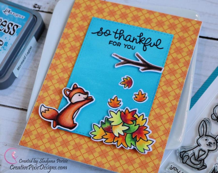 Lawn Fawn Butterfly Kisses, Lawn Fawn Jump for Joy, Copic Marker colored, Lawn Fawn Knit Picky Fall 6 x 6 petitie paper pack, So Thankful For You handmade card.