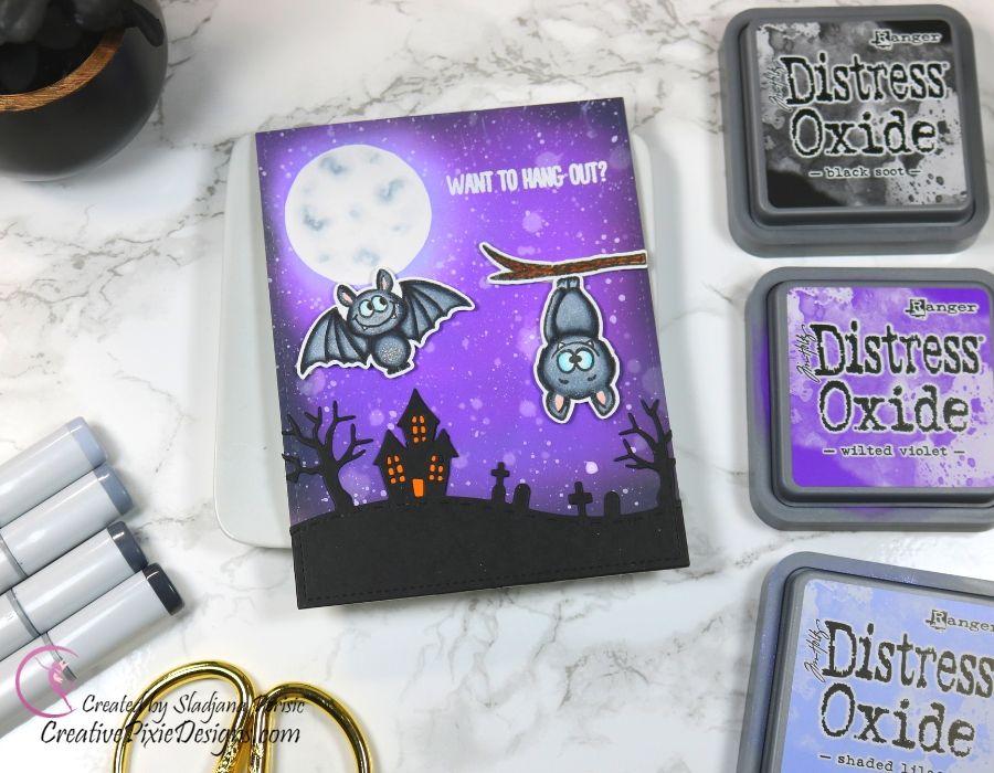 Gerda Steiner Desings Bats, ink blended background with Distress Oxide inks, mini scene Halloween card.