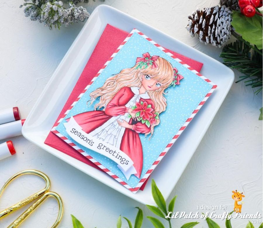 Lemon Shortbread Digi image of Christmas Poinsettia Girl colored with Copic Markers combined with Carta Bella Santa's Workshop patterned paper background, Christmas handmade card.