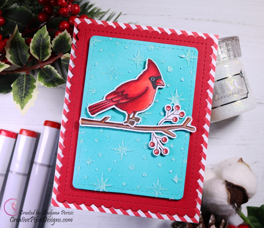Newton's Nook Designs Winter Birds, colored with Copic Markers. Newton's Nook Designs Starfield Stencils and Nuvo Glimmer paste in Moonstone. Christmas handmade card.