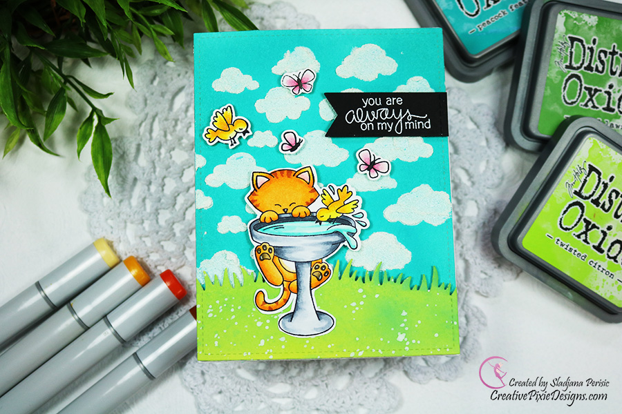 You are always on my mind by Pixiedonna features Newton's Birdbath and Cloudy Sky by Newton's Nook Designs; #newtonsnook