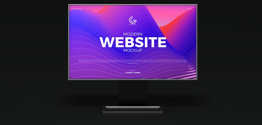 Free PSD Modern Website Computer Screen Mockup