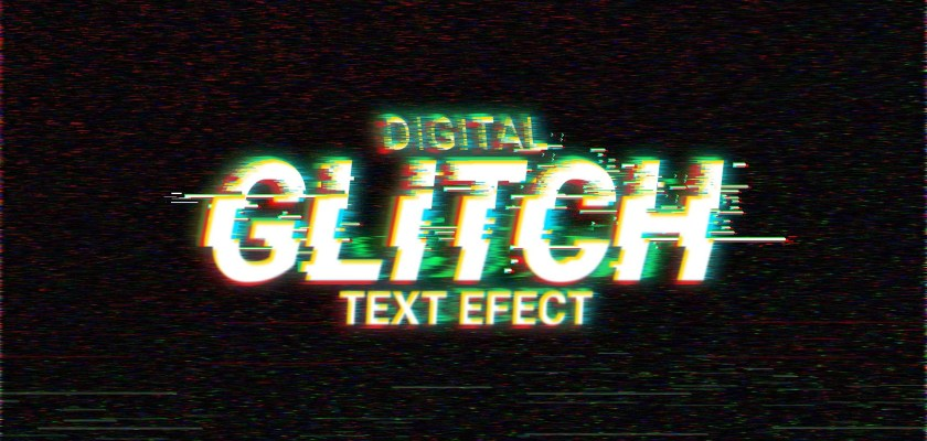 Free PSD Text glitch effect Mockup
