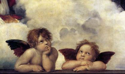 RAFFAELLO, madonna sistina, 1513-14dett